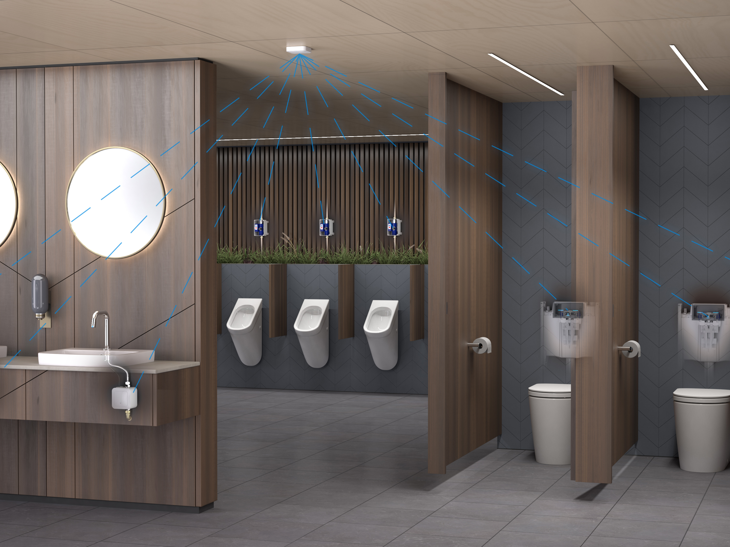 CAD rendering of a Caroma Smart Command bathroom
